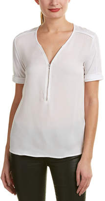 The Kooples Sport Zipper Silk T-Shirt