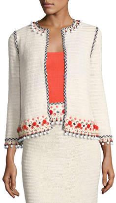 Tory Burch Pompom-Embellished Linen Jacket, Beige