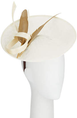 Jane Taylor Alessandra Straw Fascinator Hat w/ Feather & Twist Trim