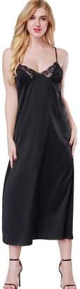 ETAOLINE Women Satin Nightgown Lace Lingerie Trimmed Full Length Slip Dress - Plus Size (L, )