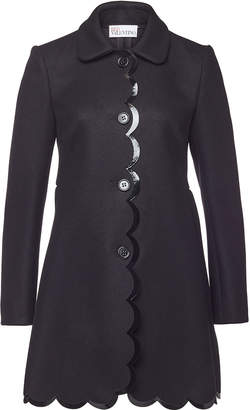 RED Valentino Wool Coat with Patent Trims