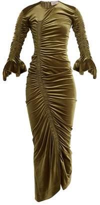 Preen by Thornton Bregazzi Hitch Ruched Detail Velour Dress - Womens - Khaki
