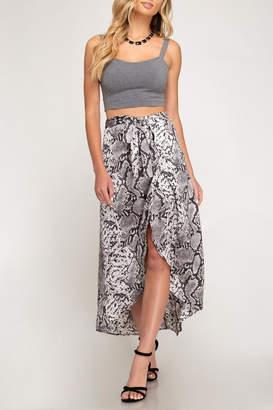 She + Sky Snake Print High-Low Skirt