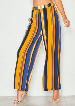 c8d05bb58c9ea9 Missy Empire Cassandra Mustard Stripe High Waist Trousers