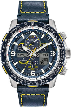 Citizen Eco-Drive Men Analog-Digital Chronograph Promaster Blue Angels Skyhawk A-t Blue Leather Strap Watch 46mm