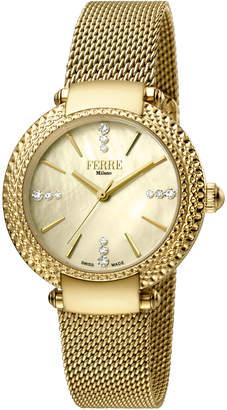 Ferré Milano 34mm Chain-Bezel Watch w/ Mesh Bracelet, Golden