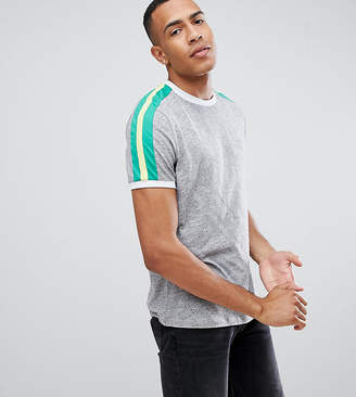 Asos DESIGN Tall t-shirt with contrast shoulder panel in gray interest fabric