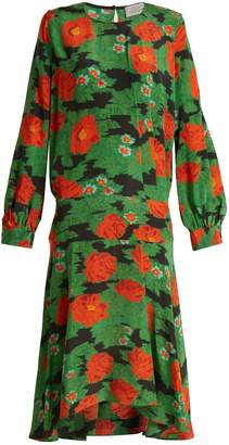 Marla poppy-print silk crepe de Chine dress
