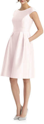Alfred Sung Bateau-Neck Cap-Sleeve Pleated Skirt Sateen Twill Dress w/ Pockets