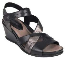 Earth Thistle Leather Ankle-Strap Wedge Sandals