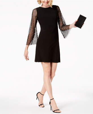 MSK Petite Embellished Mesh-Sleeve Dress