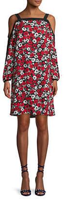 Jones New York Floral Cold-Shoulder Dress