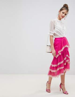 Asos DESIGN dobby chiffon midi skirt with lace trim