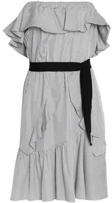 Maje Woman Off-the-shoulder Ruffled Striped Mini Dress White Size 3 Maje twQmWJlQ