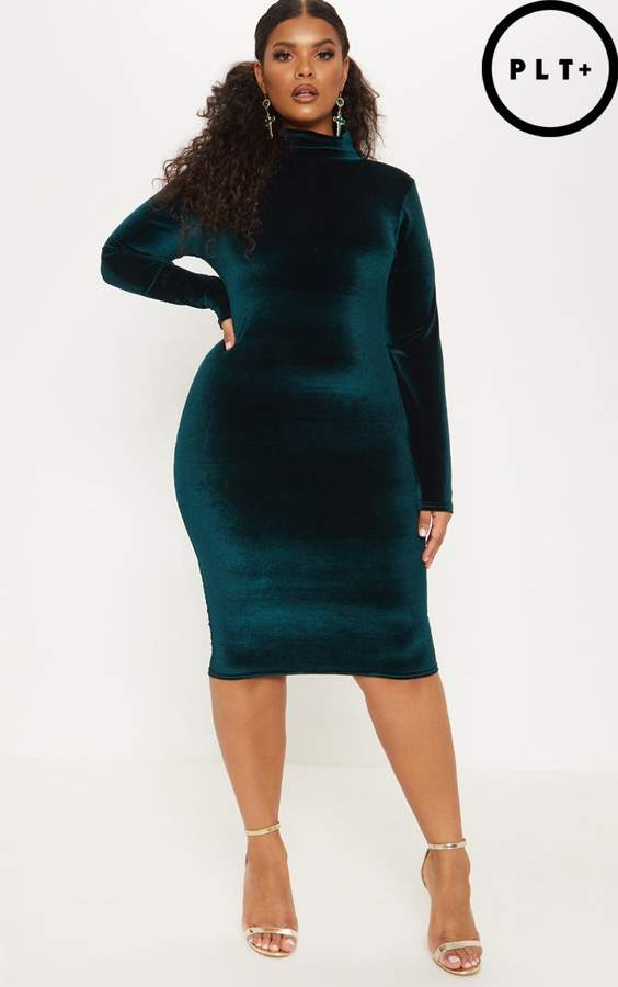 Plus Emerald Green High Neck Velvet Midi Dress
