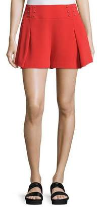 Derek Lam 10 Crosby Sailor Mid-Rise Shorts W/ Beaded Trim, Red