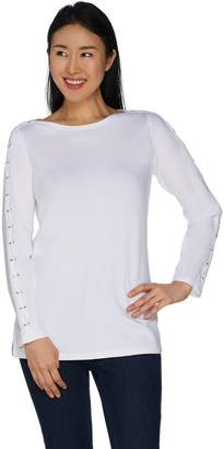 Belle By Kim Gravel TripleLuxe Knit Lace up T-Shirt