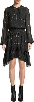 A.L.C. Sidney Long-Sleeve Metallic Flounce Dress