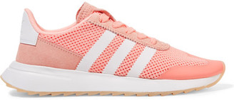adidas Originals - Flashback Suede-trimmed Mesh Sneakers - Coral $85 thestylecure.com