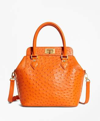 Brooks Brothers Ostrich Top Handle Satchel
