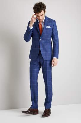 Moss Bros Tailored Fit Bright Blue Windowpane Jacket