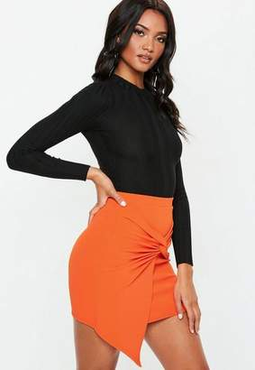 Missguided Orange Knot Front Scuba Crepe Mini Skirt