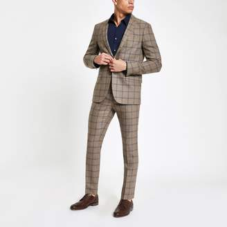 Mens Ecru check skinny suit trousers