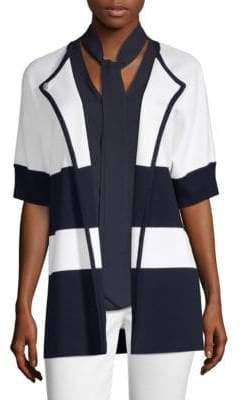St. John Striped Short Sleeve Jacket