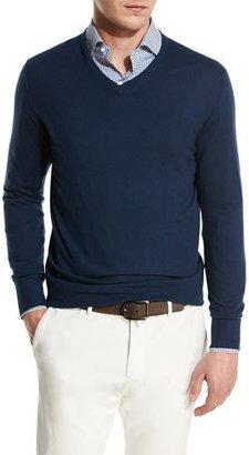 Loro Piana Scollo V-Neck Superlight Baby Cashmere Sweater $1,195 thestylecure.com