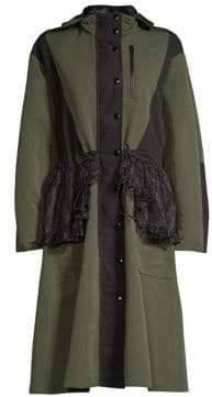 Sandy Liang Peplum Lace Hooded Jacket