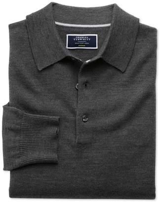 Charles Tyrwhitt Charcoal Merino Wool Polo Neck Sweater Size XL