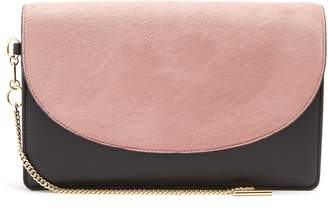 Diane von Furstenberg Saddle bi-colour leather and calf-hair clutch