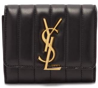 Saint Laurent Vicky Quilted Leather Monogram Wallet - Womens - Black