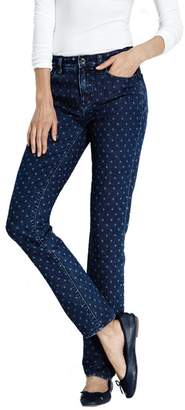 Lands' End Blue Petite Slim Leg Patterned Jeans
