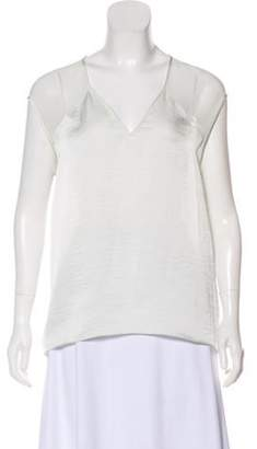 Helmut Lang Cold-Shoulder V-Neck Top White Cold-Shoulder V-Neck Top