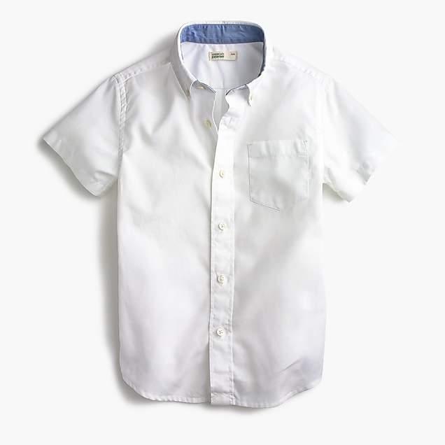 J.Crew Kids' short-sleeve Secret Wash shirt in white poplin