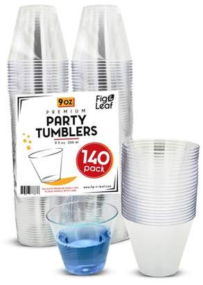 Top Choice Fig and Leaf (700 Pack) Premium Hard Plastic 9 OZ Party Cups l Old Fashioned Tumblers 9-Ounce l Crystal Clear Sturdy Disposable Tumbler Glasses Reusable Durable Cup l for Catering Wedding Birthday Event