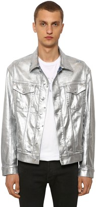 Balmain Wide Metallic Cotton Denim Jacket
