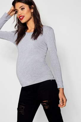 boohoo Maternity Hannah Long Sleeve V Neck Basic Top