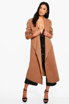 boohoo Evelyn Waterfall Wool Look Belted Duster $52 thestylecure.com