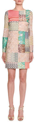 Missoni Long-Sleeve Multicolor Patchwork Sheath Dress