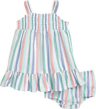 Tucker + Tate Rainbow Stripe Smocked Dress