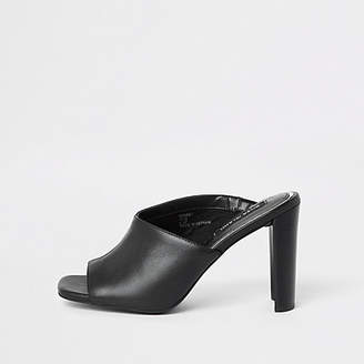 River Island Black leather asymmetric block heel sandal