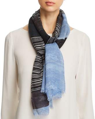 Aqua Variegated Striped Wool Scarf - 100% Exclusive