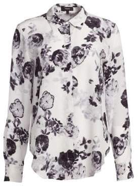 Theory Sunaya Floral-Print Silk Blouse