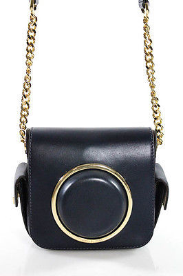 MICHAEL Michael Kors Michael Kors Blue Leather Gold Tone Accented Chain Link Crossbody Camera Bag