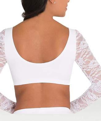bd0566146f Body Wrappers Adult Lace Long Sleeve Dance Crop Top LC9022NAVS