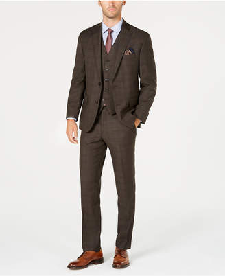 Michael Kors Men's Classic-Fit Stretch Brown Plaid Vested Suit