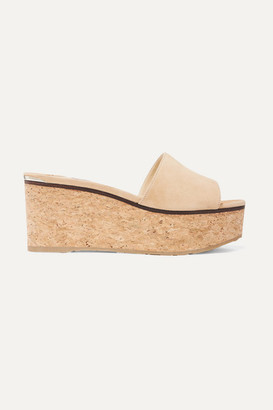 Jimmy Choo Deedee 75 Suede Wedge Mules