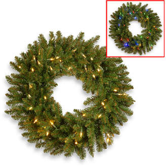 """National Tree Company National Tree 24"""" Kingswood Fir Wreath with 50 Battery Operated Dual Color Led Lights"""